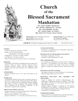 April 19th, 2015 - The Church of the Blessed Sacrament
