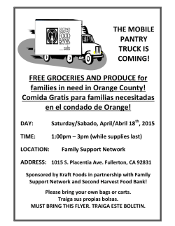 FREE GROCERIES AND PRODUCE for families in need in Orange
