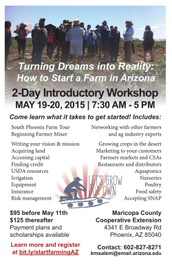 2-Day Introductory Workshop - University of Arizona Cooperative