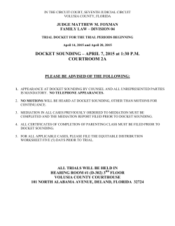 April 2015 Trial Docket - Seventh Judicial Circuit
