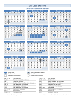 School Year Calendar Template - Our Lady of Loreto Catholic School