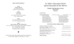 Bulletin for Maundy Thursday service, April 2, 2015