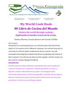 My World Cook Book Mi Libro de Cocina del Mundo Explore the