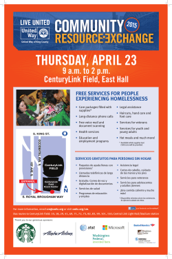 THURSDAY, APRIL 23 9 am to 2 pm CenturyLink Field, East Hall 2015