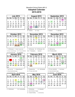 2015-16 Adopted Calendar - Beresford School District / Homepage