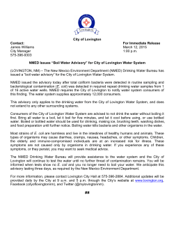 City of Lovington Contact: For Immediate Release James Williams