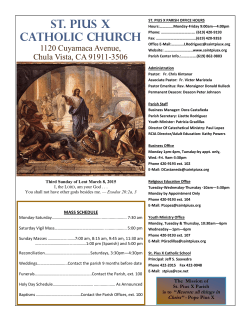 our weekly bulletin - Saint Pius X Church