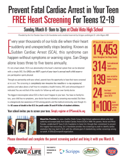 Prevent Fatal Cardiac Arrest in Your Teen FREE Heart Screening