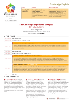 The Cambridge Experience Zaragoza 14th March 2015