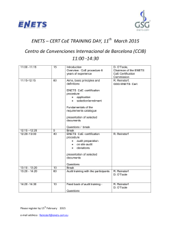 ENETS – CERT CoE TRAINING DAY, 11 March 2015 Centro de
