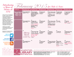 monthly calendar - Springfield Public Library