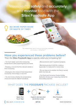 Measure (°C) safely and accurately and monitor food with the Sitex