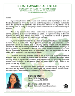 Carlene Wolf - Local Hawaii Real Estate