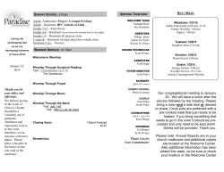 Bulletin - Paradise Bible Fellowship Church