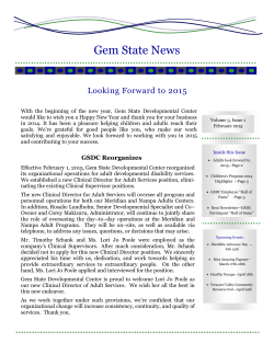 2015 Spring Newsletter - Gem State Developmental Center