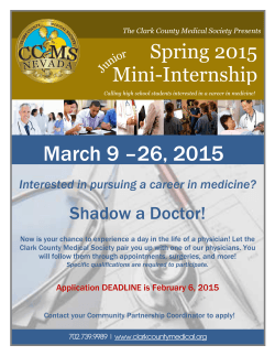 March 9 –26, 2015 - Clark County Medical Society