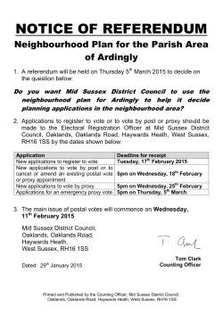 Neighbourhood Plan for the Parish Area of Ardingly