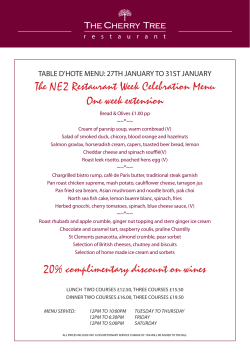 The NE2 Restaurant Week Celebration Menu One
