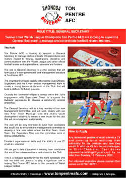 General Secretary Vacancy - Ton Pentre AFC
