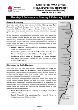 Weekly roadworks report - Roads and Maritime Services