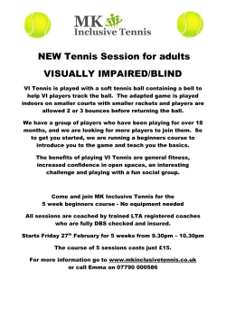 NEW Tennis Session for adults VISUALLY IMPAIRED/BLIND