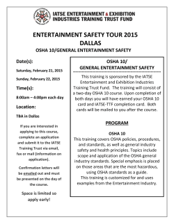 OSHA 10/GENERAL ENTERTAINMENT SAFETY in DALLAS