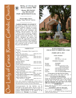 MASS SCHEDULE - Josephite Fathers and Brothers