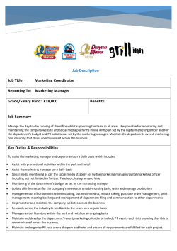 Job DESCRIPTION - Drayton Manor Theme Park