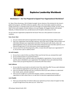 Worksheet 3 Are You Prepared to Expand Your Organizational