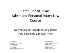 State Bar of Texas Advanced Personal Injury Law Course