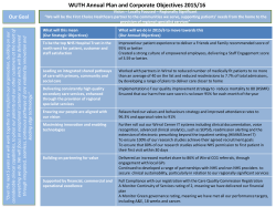 WUTH Annual Plan and Corporate Objectives 2015/16