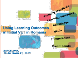 Using Learning Outcomes in Initial VET in Romania