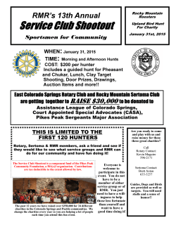 January 31st is the 13th Annual Sportsmen for Community Service