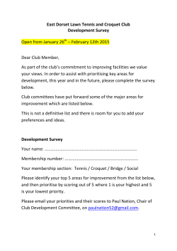 East Dorset Lawn Tennis and Croquet Club Development Survey