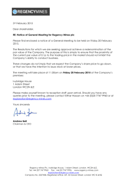 3rd February 2015 Dear shareholder, RE: Notice of General Meeting