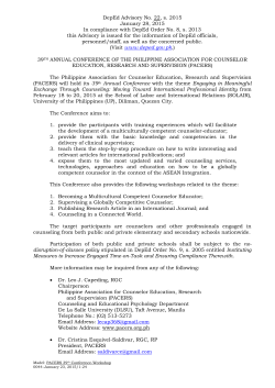DepEd Advisory No. 22, s. 2015 January 28, 2015 In compliance
