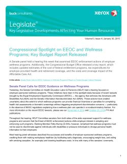 Congressional Spotlight on EEOC and Wellness - Legislate