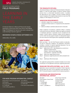 Learning in the Early Years - Fall 2013 (Maple Ridge/Pitt Meadows)