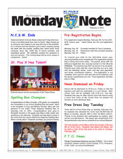Monday Note - St. Pius X School