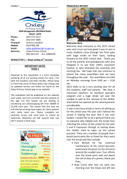 Newsletter January 29, 2015