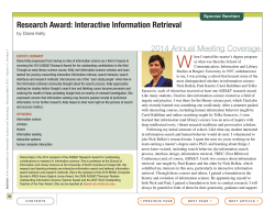 Research Award: Interactive Information Retrieval