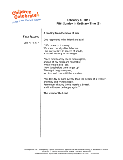 February 8, 2015 Fifth Sunday in Ordinary Time (B)