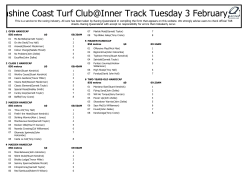 Sunshine Coast Turf Club@Inner Track Tuesday 3 February, 2015