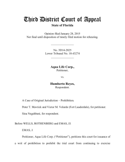 Aqua Life Corp. - Third District Court of Appeal