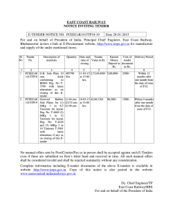 EAST COAST RAILWAY NOTICE INVITING TENDER E