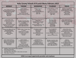 Ashe County Schools K-8 Lunch Menu February 2015 MONDAY