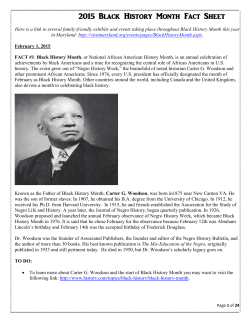 Black History Month Fact Sheet - Woodlin Elementary School PTA