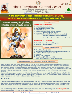 Maha Sivaratri Pooja 2015 - Hindu Temple and Cultural Center