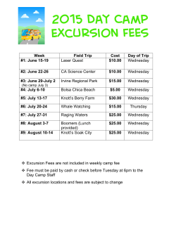 Summer Day Camp Excursion Fees
