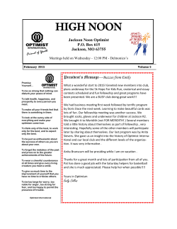 Jackson Noon Optimist Newsletter February 2015